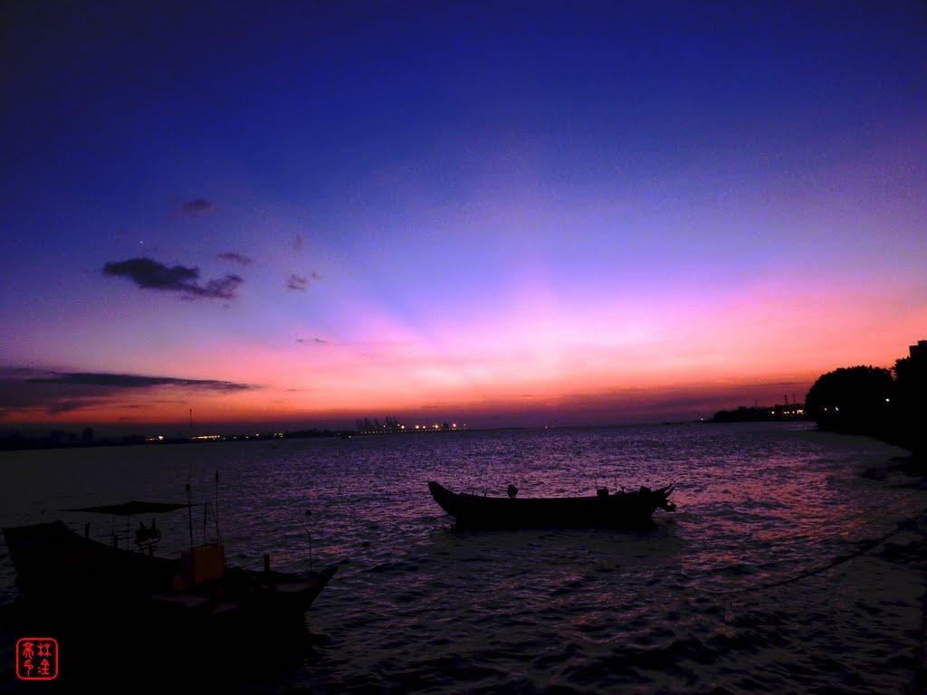 漁舟夕陽/淡水河面